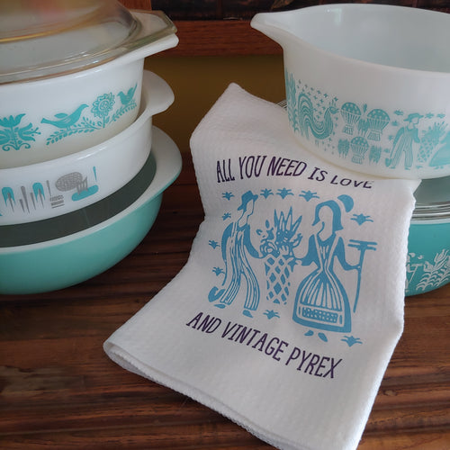 All You Need Is Love and Vintage Pyrex Pattern Waffle Weave Dishtowel
