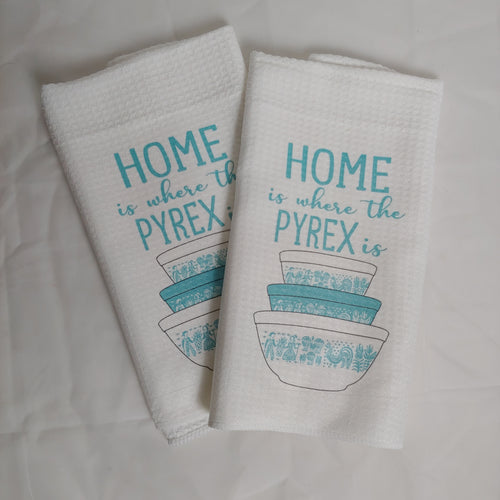 Home is Where the Pyrex Is, Teal Butterprint Bowls Waffle Weave Dishtowel