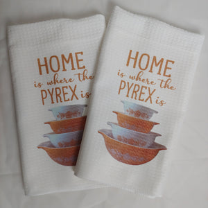 Home is Where the Pyrex Is, Butterfly Gold Bowls Waffle Weave Dishtowel