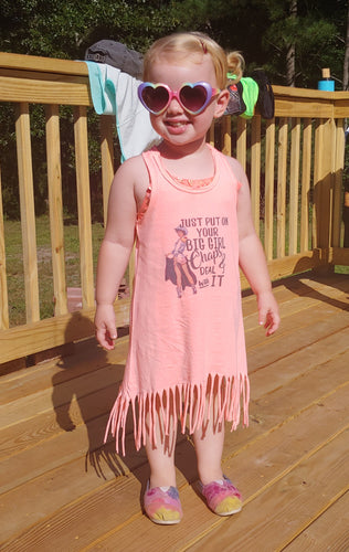 Put On Your Big Girl Chaps, Western Pinup, Girls Fringe Tank Dress