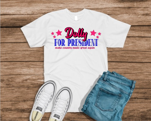 Dolly For President Pink & Blue Design, Kids and Adults tees and tanks