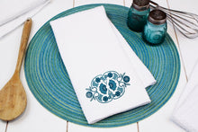 Load image into Gallery viewer, Horizon Blue Pyrex Pattern Waffle Weave Dishtowel