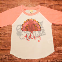 Load image into Gallery viewer, Thanksgiving Personalized Turkey Raglan