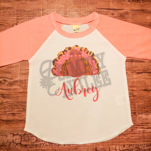 Thanksgiving Personalized Turkey Raglan