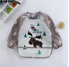 This toddler long sleeve scarf is a waterproof art smock feeding bib apron pocket for infant boys girls.