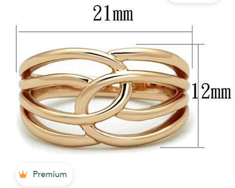 TK1696 - IP Rose Gold (Ion Plating) Stainless Steel Ring with No Stone