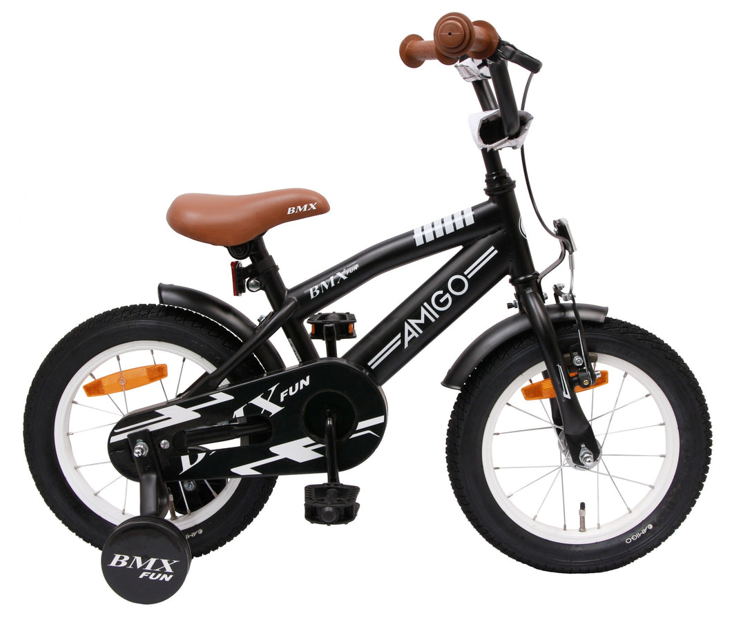 AMIGO BMX Fun 14 Inch 21 cm Boys Coaster Brake Matte black