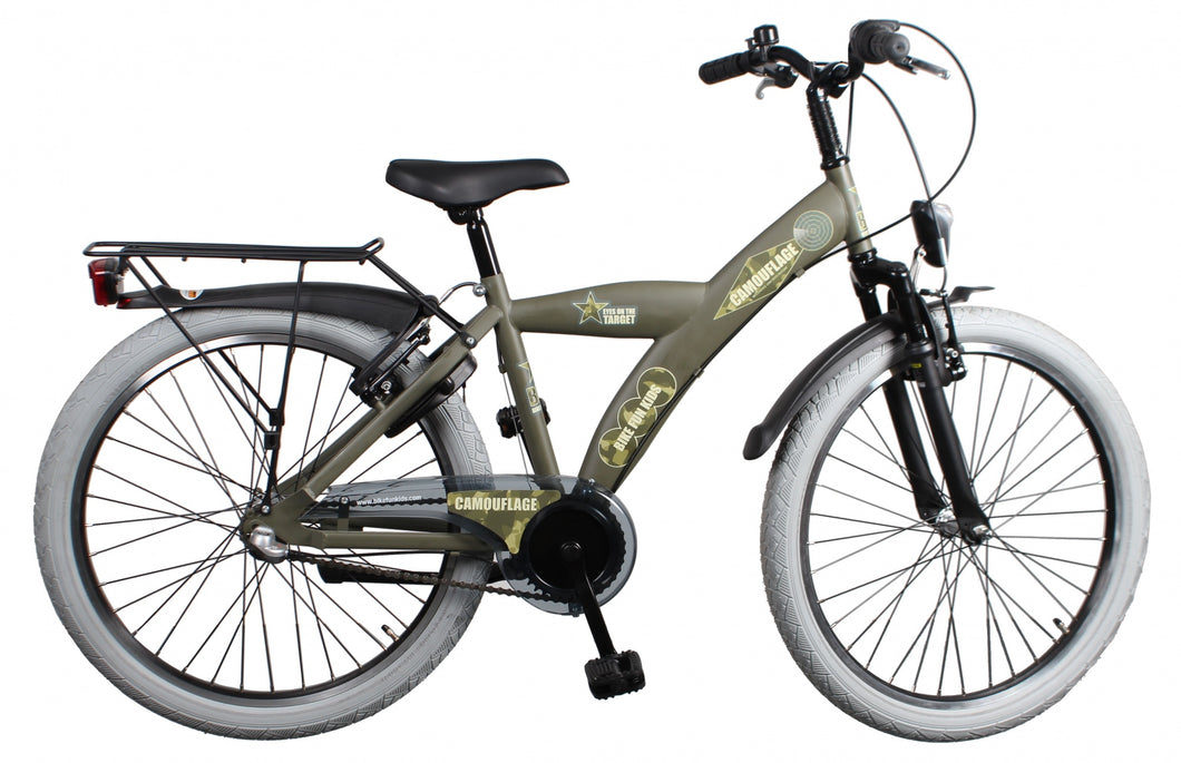 Bike Fun Camouflage 24 Inch 39 cm Boys 3SP Coaster Brake Army Green