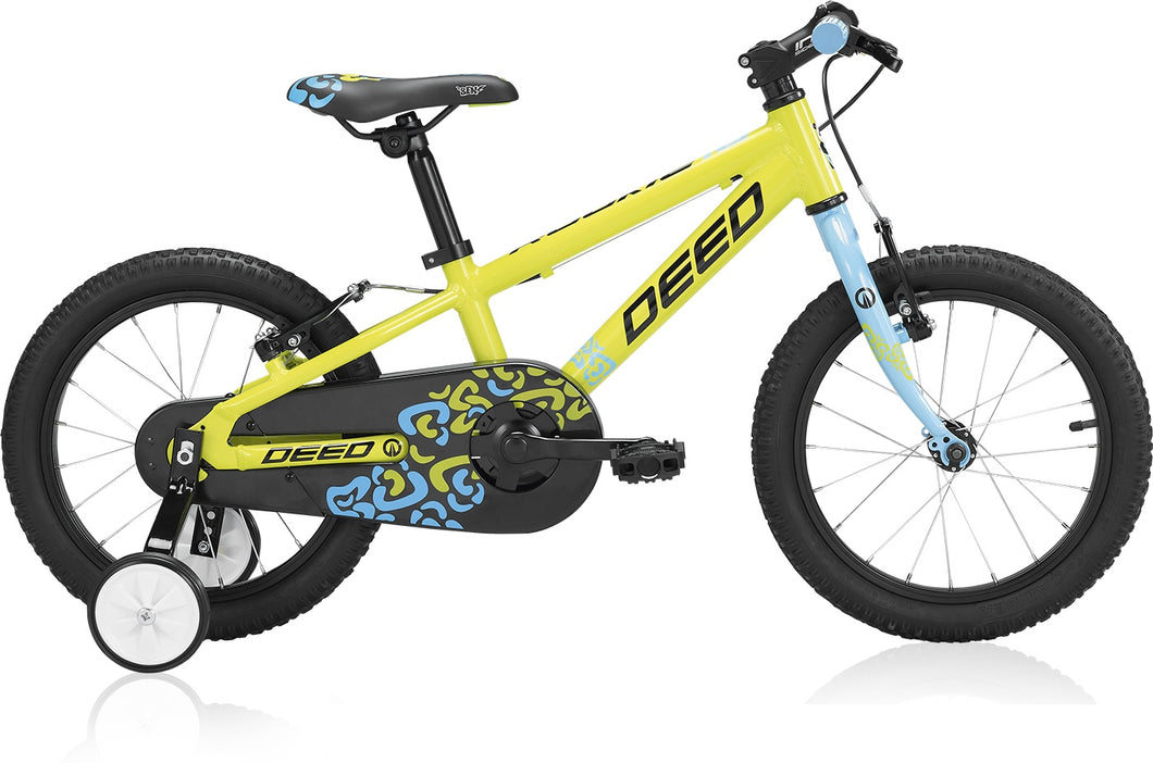 Deed Rookie 160 16 Inch 20 cm Boys Rim Brakes Lime/Light blue