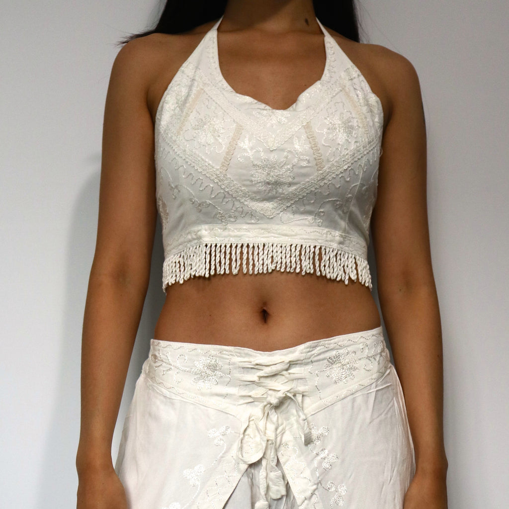 White Fringe Crop Top