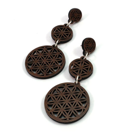 THREE PART FLOWER OF LIFE SUSTAINABLE WOODEN EARRINGS