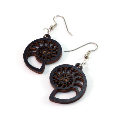 AMMONITE SUSTAINABLE WOODEN EARRINGS