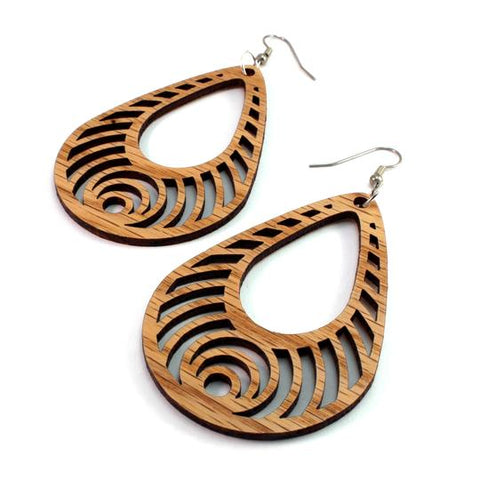 BASS RIPPLE TEARDROP SUSTAINABLE WOODEN EARRINGS