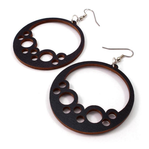 BUBBLE HOOP SUSTAINABLE WOODEN EARRINGS