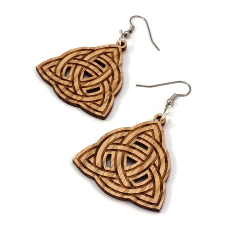 TRINITY KNOT SUSTAINABLE WOODEN EARRINGS