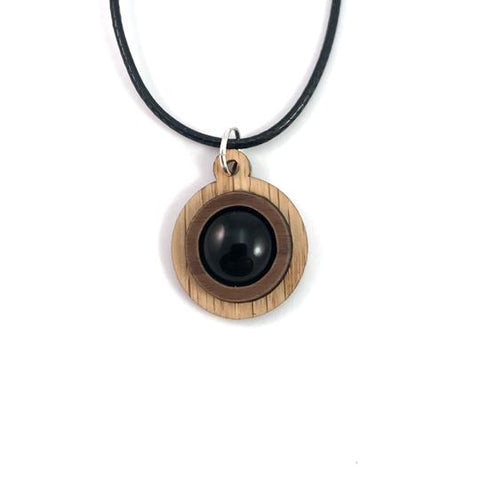 BLACK ONYX SIMPLE CIRCLE (12MM) SUSTAINABLE WOODEN GEMSTONE PENDANT