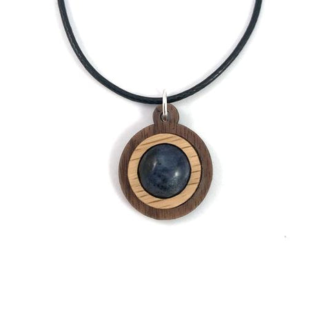 SODALITE SIMPLE CIRCLE (12MM) SUSTAINABLE WOODED GEMSTONE PENDANT