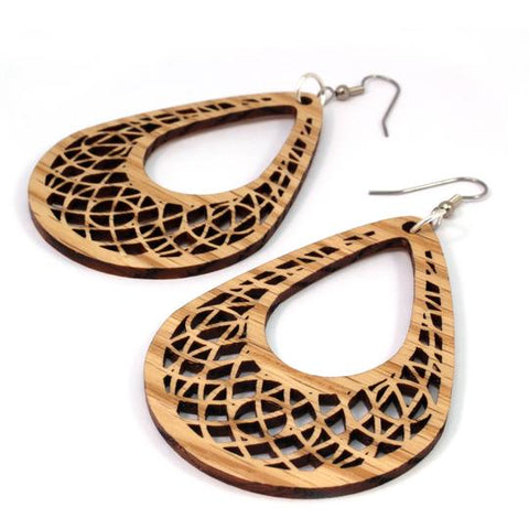 TEARDROP DREAMCATCHER SUSTAINABLE WOODEN EARRINGS