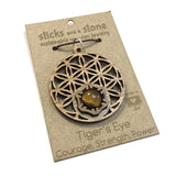 TIGER'S EYE FLOWER OF LIFE BURST SUSTAINABLE WOODEN PENDANT