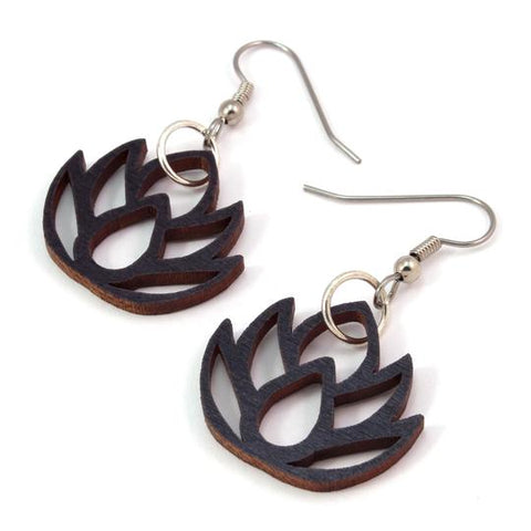 LOTUS FLOWER SUSTAINABLE WOODEN EARRINGS