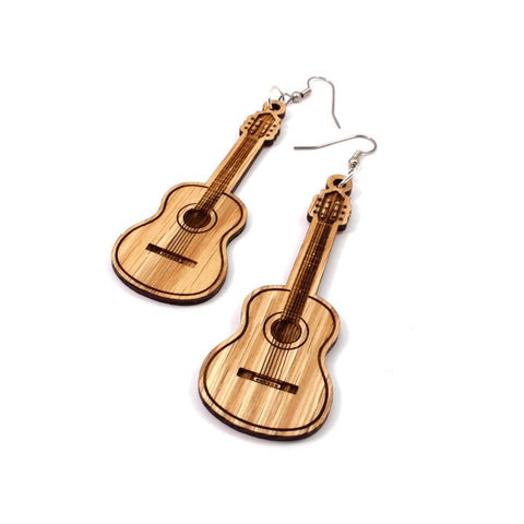 ACOUSTIC GUITAR SUSTAINABLE WOODEN EARRINGS