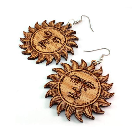 SUN FACE SUSTAINABLE WOODEN EARRINGS