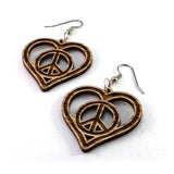 PEACE AND LOVE SUSTAINABLE WOODEN EARRINGS