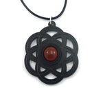CARNELIAN SEED OF LIFE (SMALL) SUSTAINABLE WOODEN GEMSTONE PENDANT