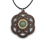 GREEN AVENTURINE SEED OF LIFE (SMALL) SUSTAINABLE WOODEN GEMSTONE PENDANT