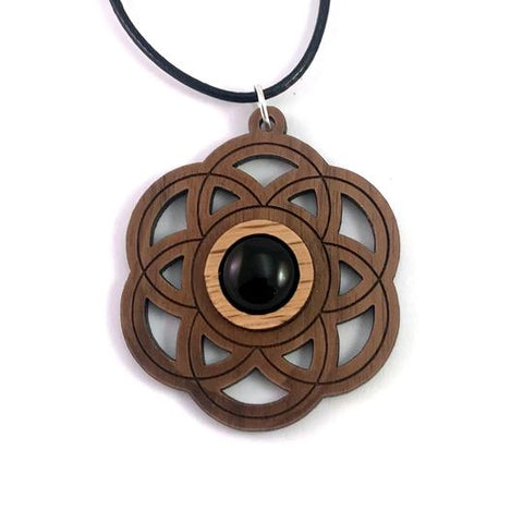 BLACK ONYX SEED OF LIFE (SMALL) SUSTAINABLE WOODEN GEMSTONE PENDANT