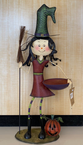 STANDING WITCH GIRL WITH BROOM AND TRAY