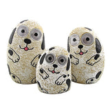 ZAER LTD. SET OF 3 SOLAR DOGS WITH LIGHT UP EYES IN 3 ASSORTED COLORS