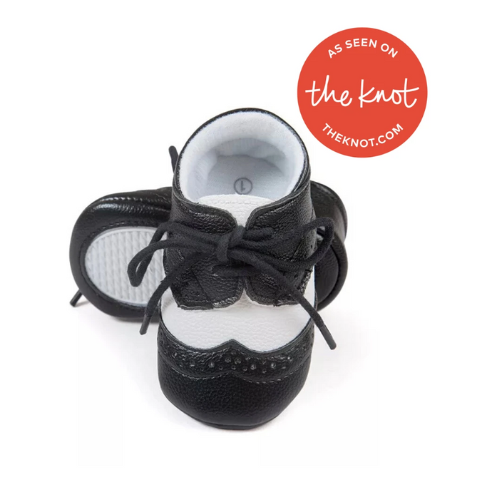 Black and White Teeny Tux Baby Oxford - Teeny Weeny Soles