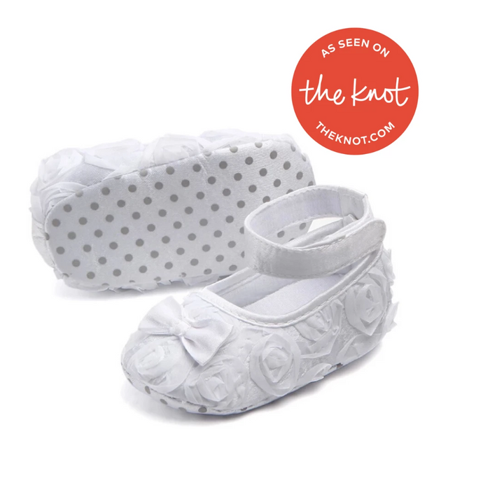 White Rose Bouquet Ballerina Baby Shoe - Teeny Weeny Soles