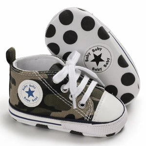 Camouflage High-Top Canvas Baby Sneaker - Teeny Weeny Soles
