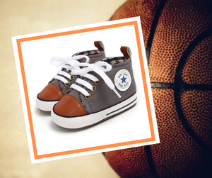 Grey and Cognac High-Top Canvas Baby Sneaker - Teeny Weeny Soles
