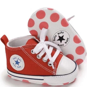 Red High-Top Canvas Baby Sneaker - Teeny Weeny Soles