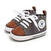 Load image into Gallery viewer, Grey and Cognac High-Top Canvas Baby Sneaker - Teeny Weeny Soles