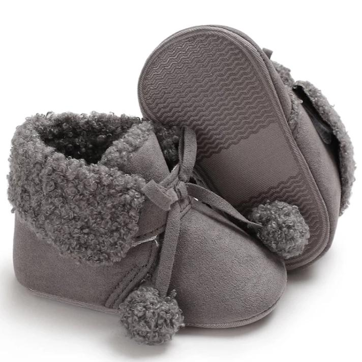 Grey Plush Puff Baby Ankle Boot - Teeny Weeny Soles