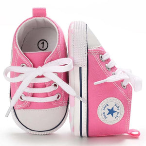 Pink High-Top Canvas Baby Sneaker - Teeny Weeny Soles