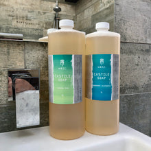 Load image into Gallery viewer, Two scents of 1L masculine vegan Castile soaps