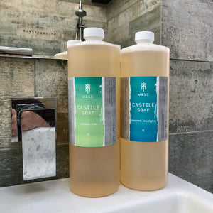 Two scents of 1L masculine vegan Castile soaps