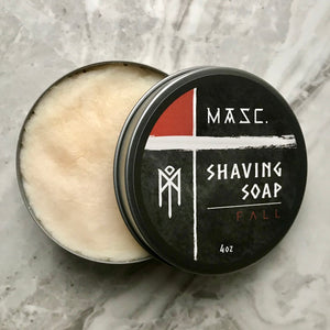 Masculine Fall Shaving Soap with open tin