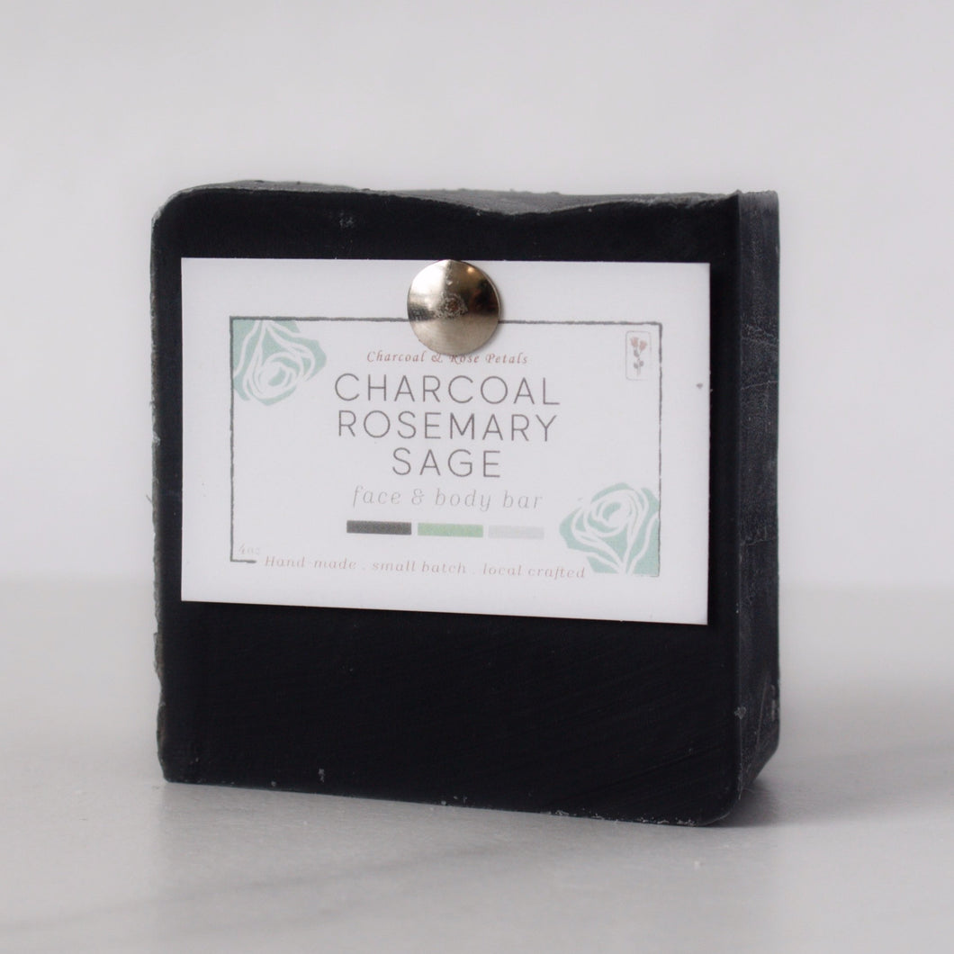 charcoal rosemary sage black bar soap
