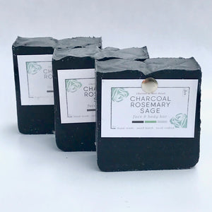 charcoal rosemary sage bar soap set of 3