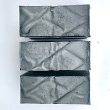 Load image into Gallery viewer, charcoal rosemary and sage bar soap set of 3 from above