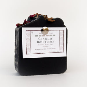 Black charcoal and rose petals signature bar soap