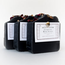 Load image into Gallery viewer, Set of 3 black charcoal & rose petals signature bar soaps