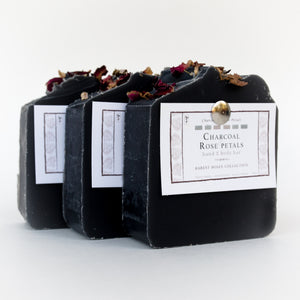 Set of 3 black charcoal & rose petals signature bar soaps