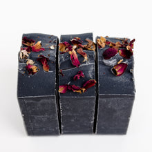 Load image into Gallery viewer, Set of 3 charcoal and rose petals signature bar soap
